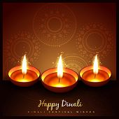 stock photo of diya  - beautiful diwali festival diya background - JPG