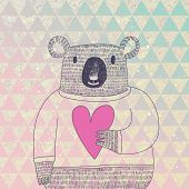 image of cute animal face  - Cute koala bear in hipster style - JPG