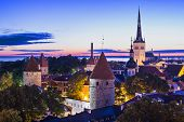 Skyline of Tallinn, Estonia at dawn.
