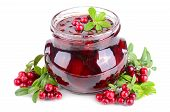 image of jar jelly  - Jar with red cowberry jelly and fresh berrys on white background - JPG