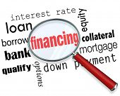 The word Financing under a magnifying glass with terms like interest rate, loan, borrow, bank, quali