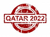 image of qatar  - Qatar 2022 stamp isolated on white background - JPG