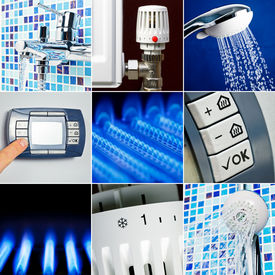 stock photo of douching  - Home heating system collection set - JPG