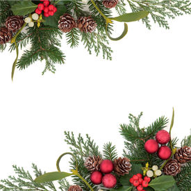 stock photo of greenery  - Christmas floral background border with red baubles - JPG
