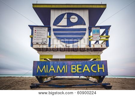 MIAMI, FLORIDA - JANUARY 9, 2014: One of the Miami Beach Life guard towers. There are 25 uniquely designed life guard towers on the beach.