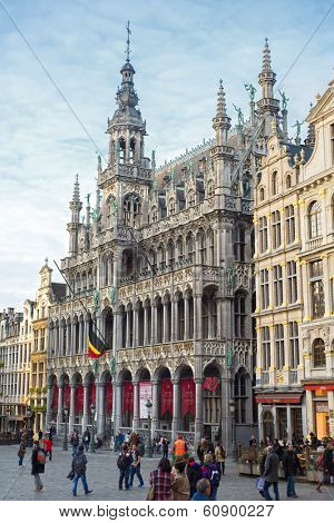 Brussels, Belgium, - Grand Place, February 17, 2014: Photo of Grand Place or Grote Markt - the central square of Brussels and most beautiful town square in Europe
