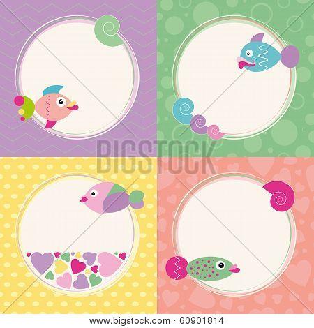 funky cartoon fish cards set