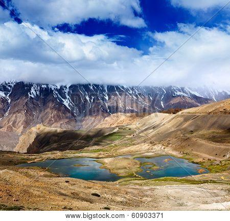 Mountain lakes in Spiti Valley in Himalayas. Himachal Pradesh, India