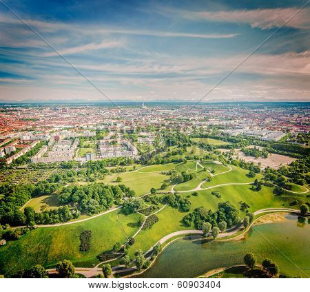 Vintage retro hipster style travel image of aerial view of Olympiapark and Munich from Olympiaturm (Olympic Tower). Munich, Bavaria, Germany