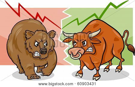 Bear And Bull Market Cartoon