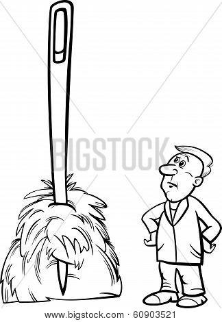 Needle In A Haystack Saying Cartoon