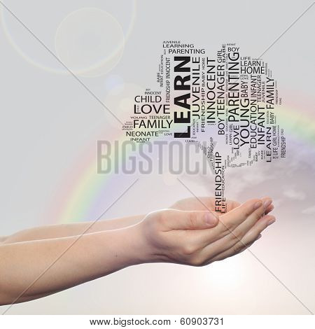 Concept or conceptual black text word cloud or tagcloud tree on man or woman hand on rainbow sky background, metaphor to child, family, education, life, home, love and school learn or achievement