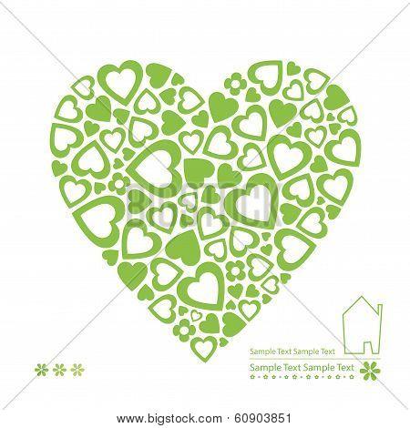 green ecology heart card