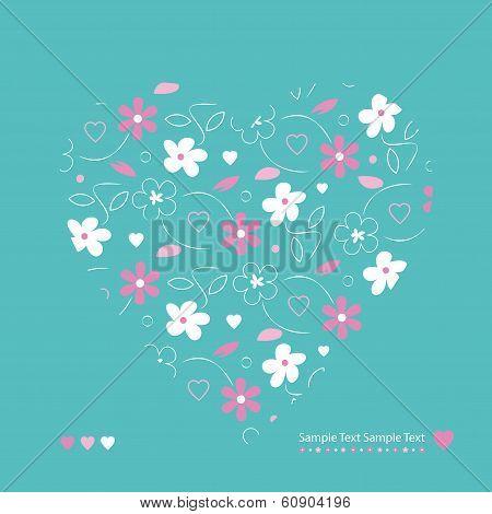 flowery heart greeting card