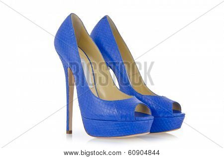 Blue shoes isolated on the white