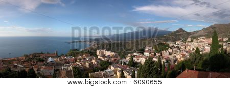 Panoramic View Of Taormina With Etna