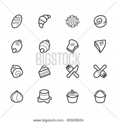 bakery popular vector icon set on white background