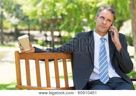 Mature businessman with disposable cup using cellphone on park bench