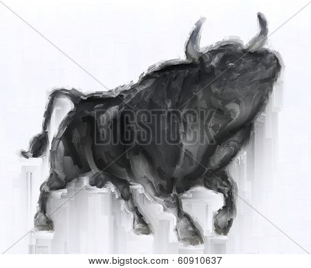 Painting of an angry black bull on white