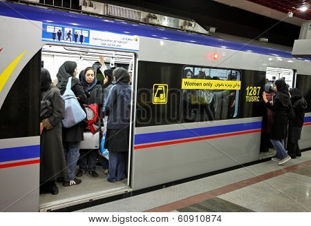 TEHRAN, IRAN - NOVEMBER 24, 2007:  Underground station in Tehran Metro has separate compartments  women only.