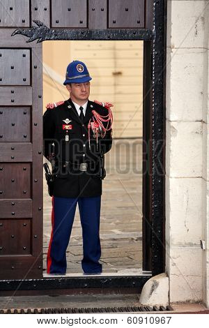 MONACO - APRIL 18, 2009: Guard on duty at official residence of Prince of Monaco. The  Guards unit was created in 1817 to provide security for the Palace, the Sovereign Prince and his family
