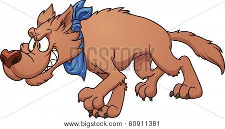 Cartoon wolf stalking. Vector clip art illustration with simple gradients. All in a single layer.