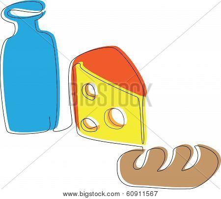 yogurt, cheese and a loaf
