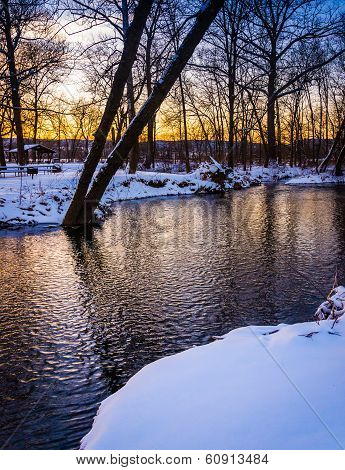 Winter View Of A Creek At Sunset, In Rural Frederick County, Maryland.