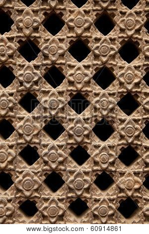 Stone Latticework With Flowers Pattern