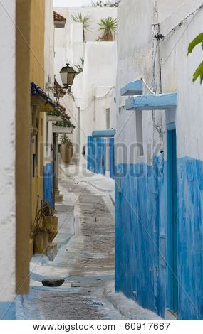 Street In Blue And White Village