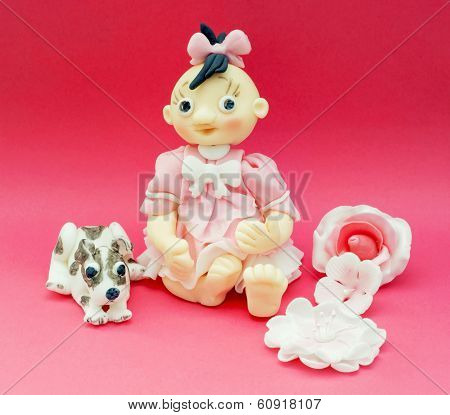 Eatable Decorative Doll And Dog Of Marchpane