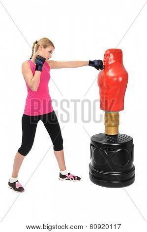 Young Boxing Lady with Body Opponent Bag, Adjustable Practice Mannequin