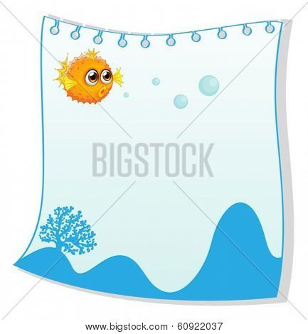 Illustration of an empty paper template with a puffer fish on a white background