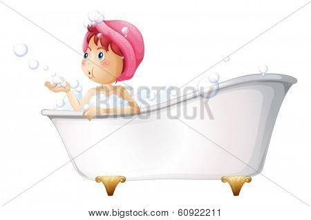 Illustration of a young lady at the bathtub on a white background