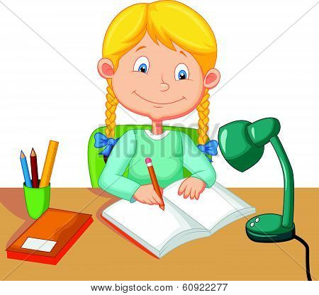 Little girl cartoon studying