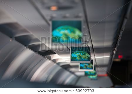 Information display inside passenger airplane
