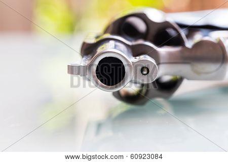 Close Up Of Gun Muzzle