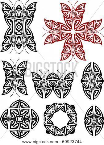 Butterfly Tribal Tattoo Set