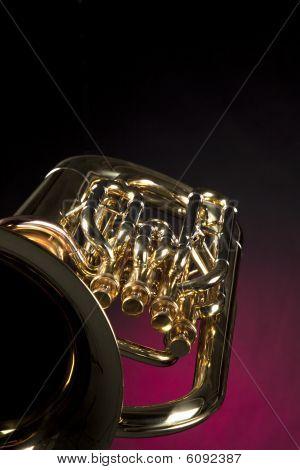Tuba Euphonium Isolated On Red