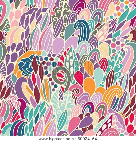 Absolutely gorgeous abstract seamless pattern in fantastic colors. Stylish vector background made of bursts and flowers. Seamless pattern in vector