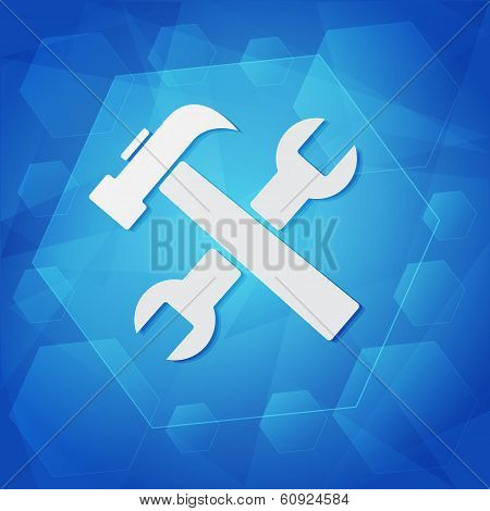 Tools Sign Over Blue Background