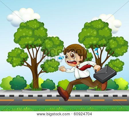 Illustration of a man running hurriedly with a suitcase