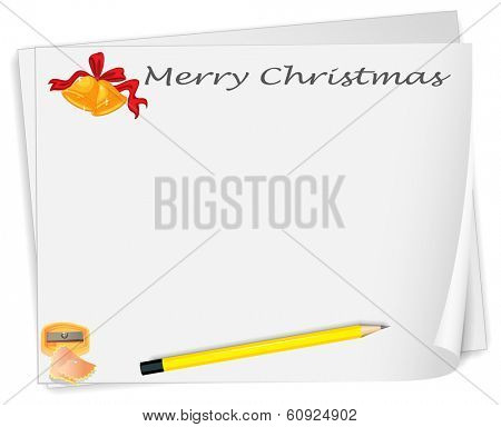 Illustration of an empty christmas card template with a sharpener and a pencil on a white background