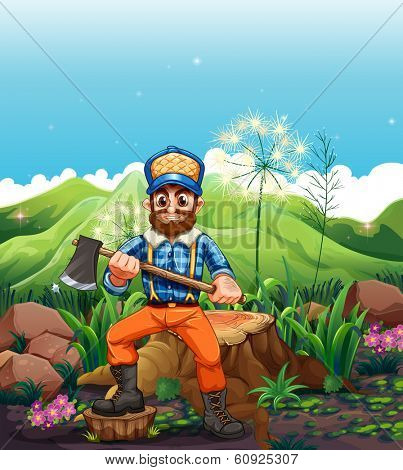 Illustration of a lumberjack cutting the trees near the mountain