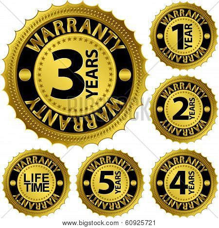 Warranty Golden Label Set, Warranty Vector Illustration