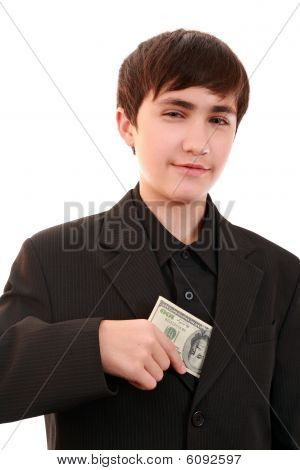 Artful Teenager With A Denomination 100 $