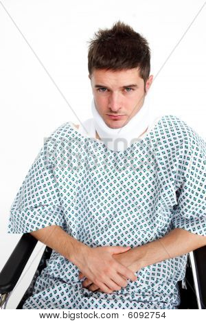 Man With A Neck Brace In Hospital