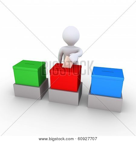 Person Is Voting Among Three Choices