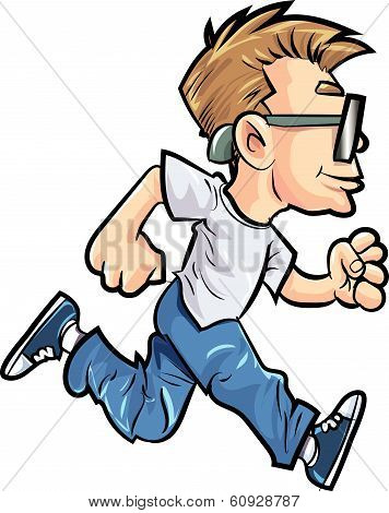 Cartoon running man with glasses. Isolated