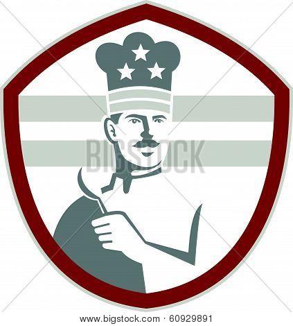 Chef Cook Holding Spatula Shield Retro